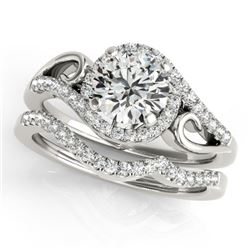 0.95 CTW Certified VS/SI Diamond 2Pc Set Solitaire Halo 14K White Gold - REF-130N2Y - 31196