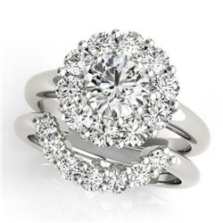 3.35 CTW Certified VS/SI Diamond 2Pc Wedding Set Solitaire Halo 14K White Gold - REF-633K3W - 31277