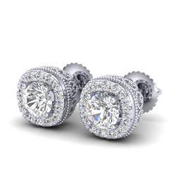 1.69 CTW VS/SI Diamond Solitaire Art Deco Stud Earrings 18K White Gold - REF-263M6H - 37118