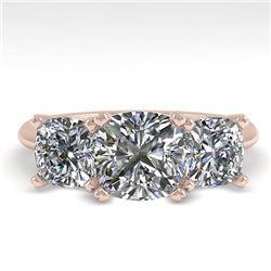 2.0 CTW Cushion Cut VS/SI Diamond 3 Stone Designer Ring 14K Rose Gold - REF-395Y8K - 38502