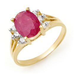 2.48 CTW Ruby & Diamond Ring 14K Yellow Gold - REF-45X5T - 13720
