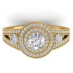 1.50 CTW Certified VS/SI Diamond Art Deco 3 Stone Halo Ring 14K Yellow Gold - REF-170Y8K - 30374