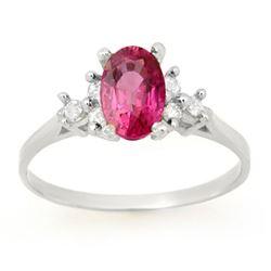 0.80 CTW Pink Sapphire & Diamond Ring 14K White Gold - REF-26X2T - 14213