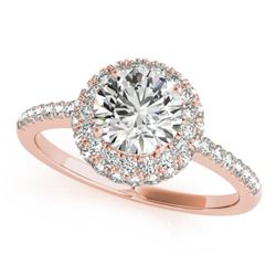 1.6 CTW Certified VS/SI Diamond Solitaire Halo Ring 18K Rose Gold - REF-389W3F - 26486