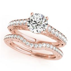 1.61 CTW Certified VS/SI Diamond Solitaire 2Pc Wedding Set 14K Rose Gold - REF-389N5Y - 31761