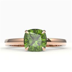 2 CTW Cushion Cut Green Tourmaline Solitaire Engagement Ring 14K Rose Gold - REF-30K4W - 22145