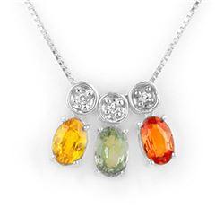 2.03 CTW Multi-Sapphire & Diamond Necklace 14K White Gold - REF-28W8F - 11299