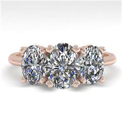 2.0 CTW Oval Cut VS/SI Diamond 3 Stone Designer Ring 18K Rose Gold - REF-390Y2K - 32468