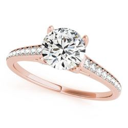 1.5 CTW Certified VS/SI Diamond Solitaire Ring 18K Rose Gold - REF-394F2N - 27463