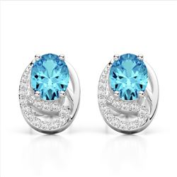 2.50 Sky Blue Topaz & Micro Pave VS/SI Diamond Stud Earrings 10K White Gold - REF-25A6X - 22326