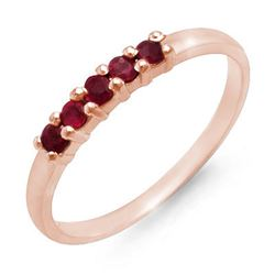 0.25 CTW Ruby Ring 10K Rose Gold - REF-9K8W - 12634