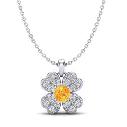 0.27 CTW Citrine & Micro Pave VS/SI Diamond Necklace 18K White Gold - REF-29N5Y - 20356