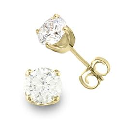 0.90 CTW Certified VS/SI Diamond Solitaire Stud Earrings 14K Yellow Gold - REF-143F6N - 13039
