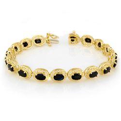 12.0 CTW Blue Sapphire Bracelet 10K Yellow Gold - REF-94H5A - 11760