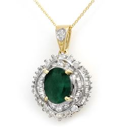 5.35 CTW Emerald & Diamond Pendant 14K Yellow Gold - REF-180M2H - 13008