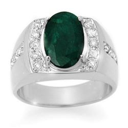 4.58 CTW Emerald & Diamond Men's Ring 10K White Gold - REF-73K8W - 14485