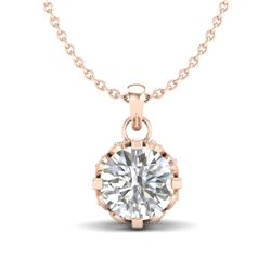 0.85 CTW VS/SI Diamond Solitaire Art Deco Stud Necklace 18K Rose Gold - REF-138K4W - 36840
