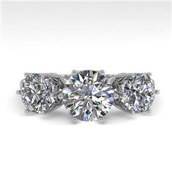 2 CTW Past Present Future Certified VS/SI Diamond Ring 18K White Gold - REF-414A2X - 35910