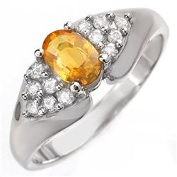 0.90 CTW Yellow Sapphire & Diamond Ring 14K White Gold - REF-43K6W - 10025