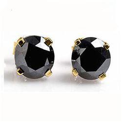0.50 CTW VS Certified Black Diamond Solitaire Stud Earrings 14K Yellow Gold - REF-16M9H - 14219