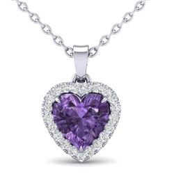 1 CTW Amethyst & Micro VS/SI Diamond Heart Necklace Heart Halo 14K White Gold - REF-28T4M - 21333