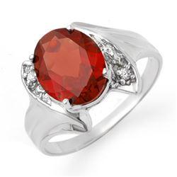 1.64 CTW Garnet & Diamond Ring 10K White Gold - REF-16M4H - 12316