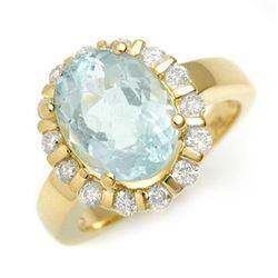 4.65 CTW Aquamarine & Diamond Ring 10K Yellow Gold - REF-90N8Y - 11250