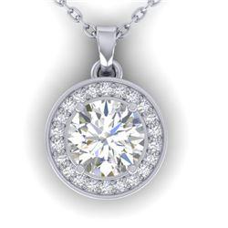 0.96 CTW Certified VS/SI Diamond Art Deco Micro Halo Necklace 14K White Gold - REF-170F4N - 30357