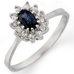 0.60 CTW Blue Sapphire & Diamond Ring 18K White Gold - REF-33A8X - 11134