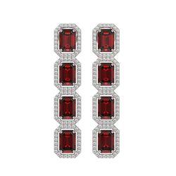 12.73 CTW Garnet & Diamond Halo Earrings 10K White Gold - REF-146M9H - 41471