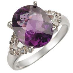 3.70 CTW Amethyst & Diamond Ring 14K White Gold - REF-50F4N - 10842