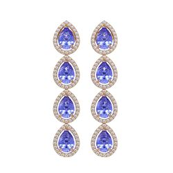 9.01 CTW Tanzanite & Diamond Halo Earrings 10K Rose Gold - REF-193N6Y - 41148
