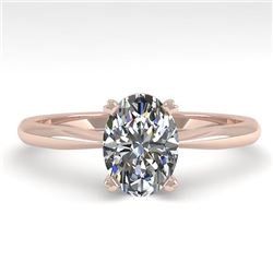 1 CTW Oval Cut VS/SI Diamond Engagement Designer Ring 18K Rose Gold - REF-280K3W - 32405