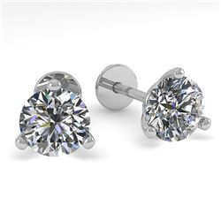 0.50 CTW Certified VS/SI Diamond Stud Earrings Martini 14K White Gold - REF-44W4F - 38305