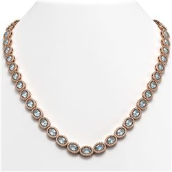 33.25 CTW Sky Topaz & Diamond Halo Necklace 10K Rose Gold - REF-501T5M - 40431