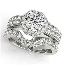 1.69 CTW Certified VS/SI Diamond 2Pc Wedding Set Solitaire Halo 14K White Gold - REF-409X5T - 31325