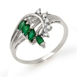 0.55 CTW Emerald & Diamond Ring 14K White Gold - REF-24K5W - 13021