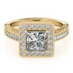 1.6 CTW Certified VS/SI Princess Diamond Solitaire Halo Ring 18K Yellow Gold - REF-570T9M - 27122