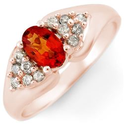 0.90 CTW Orange Sapphire & Diamond Ring 14K Rose Gold - REF-40F9N - 10299