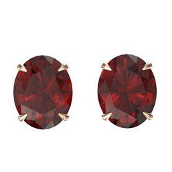7 CTW Garnet Designer Inspired Solitaire Stud Earrings 14K Rose Gold - REF-27X6T - 21662