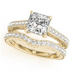 1.65 CTW Certified VS/SI Princess Diamond Solitaire 2Pc Set 14K Yellow Gold - REF-443Y3K - 31756