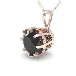 1 CTW Black Certified Diamond Solitaire Necklace 18K Rose Gold - REF-45H3A - 35723