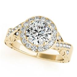 1.75 CTW Certified VS/SI Diamond Solitaire Halo Ring 18K Yellow Gold - REF-623K2W - 27059