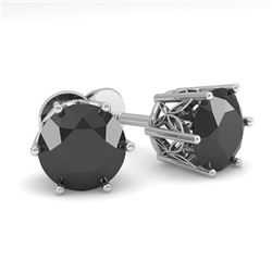 2.0 CTW Black Certified Diamond Stud Solitaire Earrings 18K White Gold - REF-64A8X - 35850