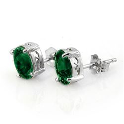 2.0 CTW Emerald Earrings 18K White Gold - REF-28H2A - 11312