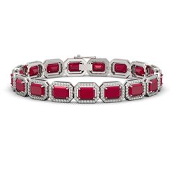 26.21 CTW Ruby & Diamond Halo Bracelet 10K White Gold - REF-347F8N - 41381