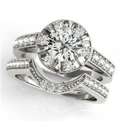 2.35 CTW Certified VS/SI Diamond 2Pc Wedding Set Solitaire Halo 14K White Gold - REF-488A8X - 31292