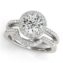0.67 CTW Certified VS/SI Diamond 2Pc Wedding Set Solitaire Halo 14K White Gold - REF-81F6N - 30768