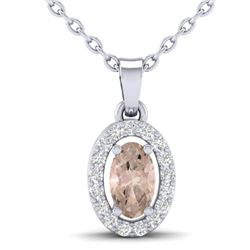 0.41 CTW Morganite & Micro Pave VS/SI Diamond Necklace Halo 18K White Gold - REF-27F3N - 21322