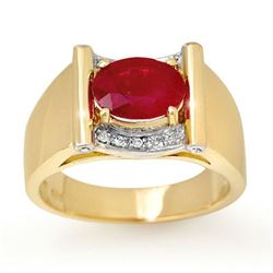 2.33 CTW Ruby & Diamond Men's Ring 10K Yellow Gold - REF-47K6W - 13492